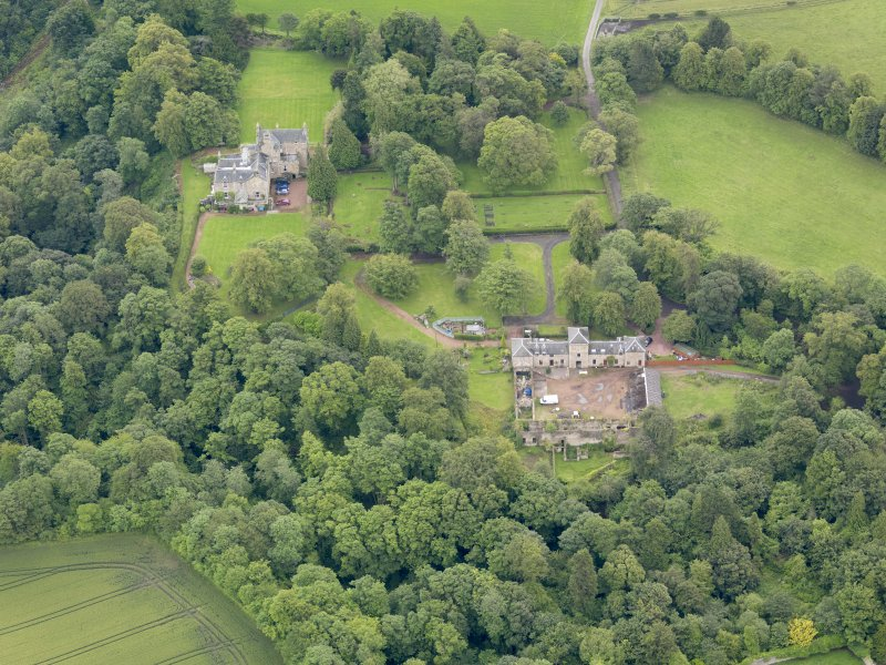 Oblique aerial view of Carriden House and stables, taken from the WNW.