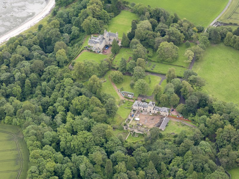 Oblique aerial view of Carriden House and stables, taken from the W.