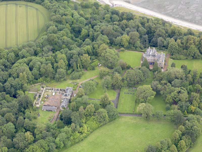 Oblique aerial view of Carriden House and stables, taken from the SSW.