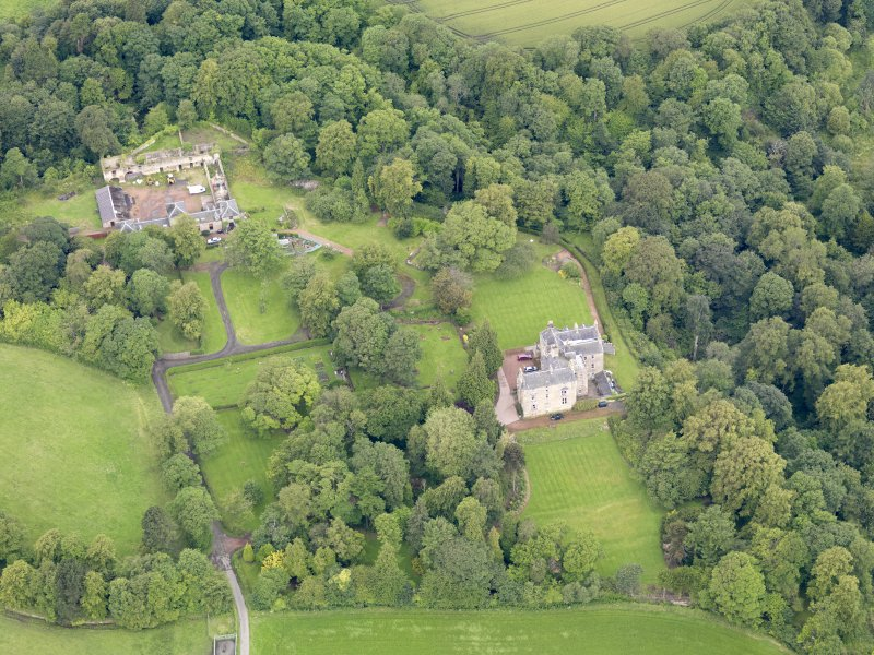 Oblique aerial view of Carriden House and stables, taken from the ESE.