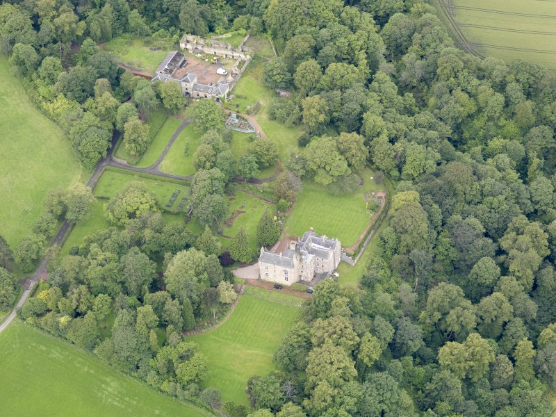 Oblique aerial view of Carriden House and stables, taken from the E.