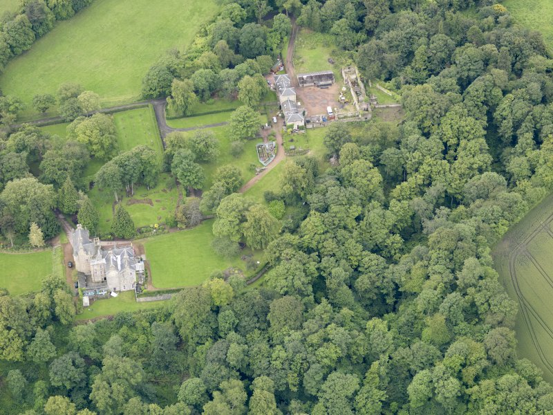 Oblique aerial view of Carriden House and stables, taken from the NNE.