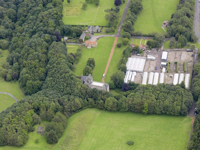 Oblique aerial view of Kinneil House and Duchess Anne Cottages, Bo'ness, taken from the WSW.