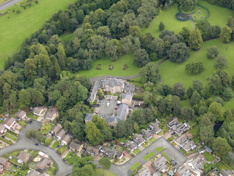 Oblique aerial view of Parkhill House, taken from the SW.