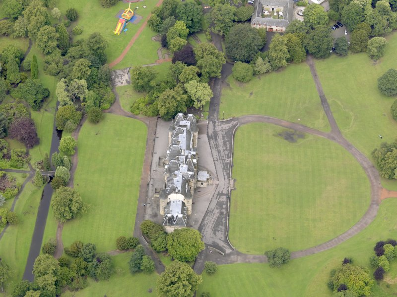 Oblique aerial view of Callendar House, taken from the ESE.
