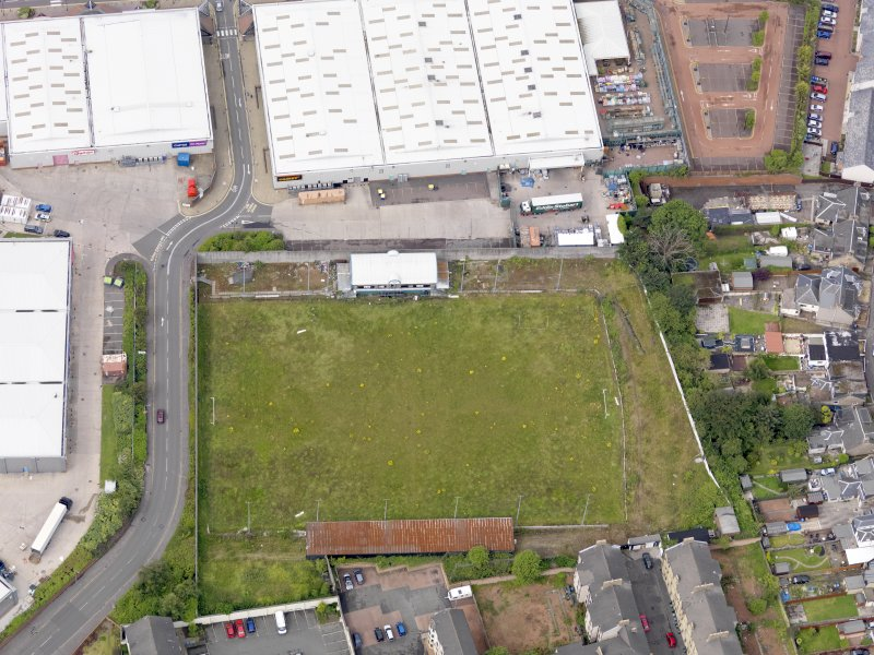 Oblique aerial view of Firs Park Football Stadium, taken from the ENE.