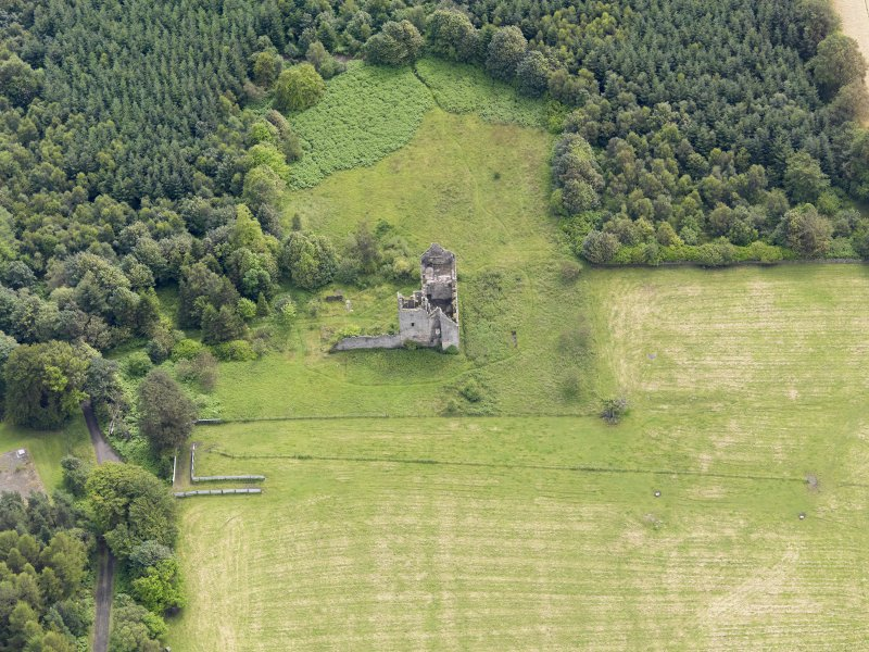 Oblique aerial view of Torwood Castle, taken from the WNW.