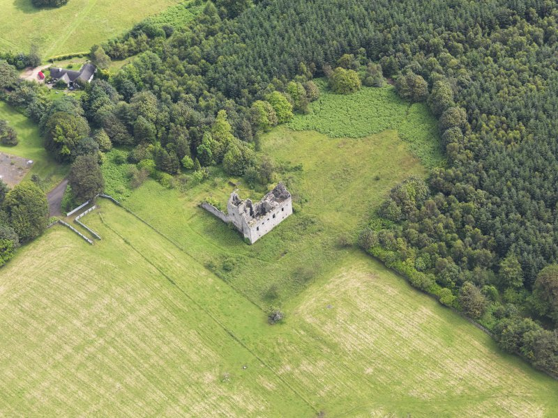 Oblique aerial view of Torwood Castle, taken from the WSW.