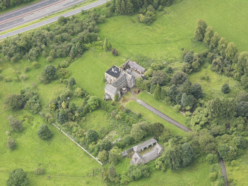 Oblique aerial view of Bannockburn House and policies, taken from the NE.