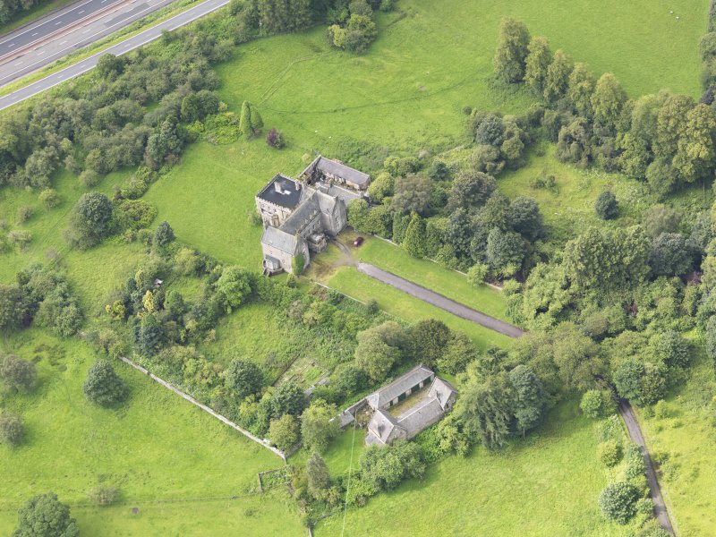 Oblique aerial view of Bannockburn House and policies, taken from the ENE.