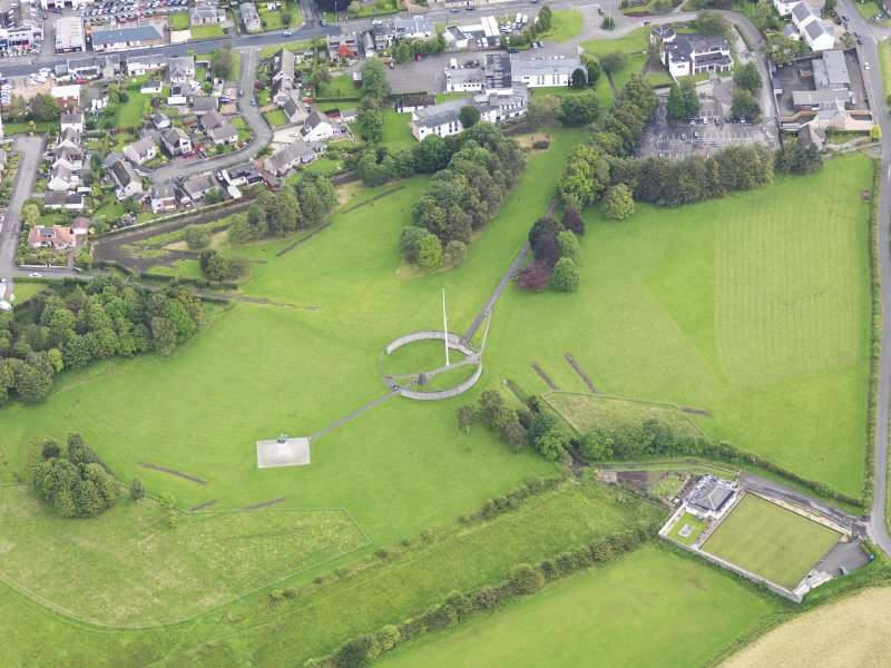 Oblique aerial view of Bannockburn Heritage Centre, taken from the W.