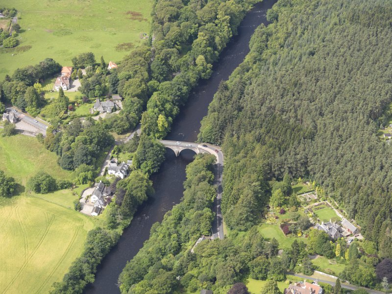Oblique aerial view of Bridge of Teith, taken from the E.