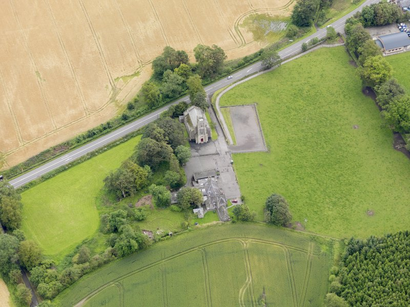 Oblique aerial view of Kincardine Parish Church, taken from the W.