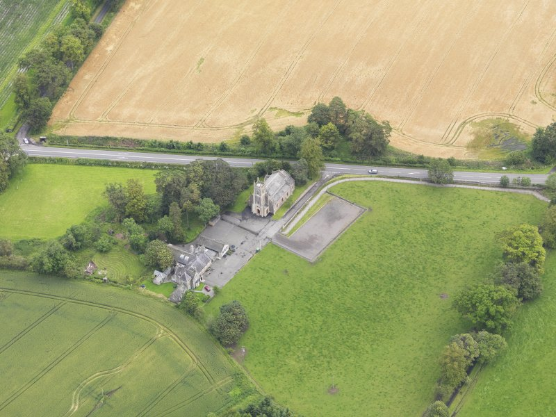 Oblique aerial view of Kincardine Parish Church, taken from the SW.
