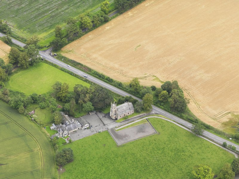 Oblique aerial view of Kincardine Parish Church, taken from the SSW.