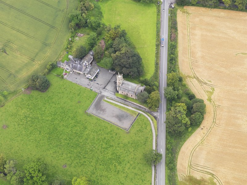 Oblique aerial view of Kincardine Parish Church, taken from the SSE.