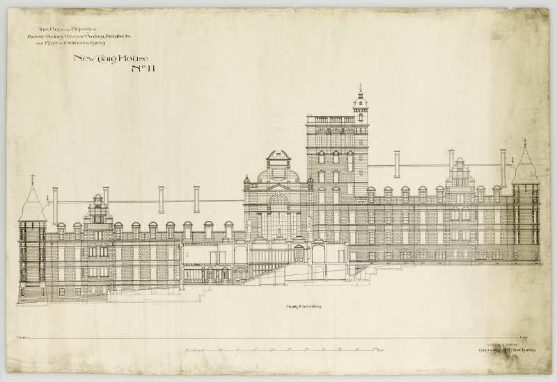 "North Elevation of Craig House Insc. ""This Plan is the Property of Messrs Sydney Mitchell & Wilson Architects and must be returned to them. New Craig House  No.11.  13 Young Street, Edinburgh. 21st Ma ..."
