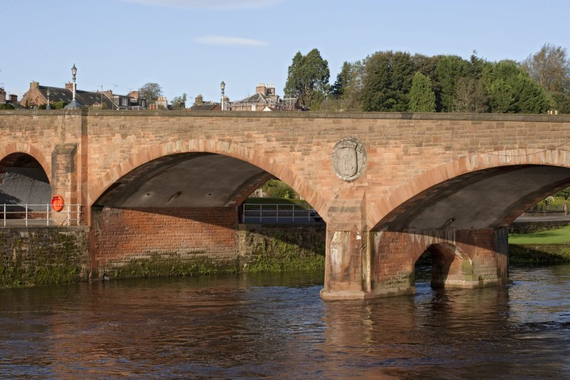 View of W span of bridge with roundel
