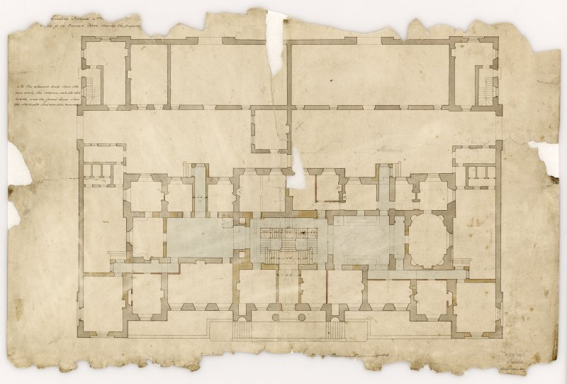 Custom House, 67 Commercial Street, Leith, Edinburgh. Ground floor plan, showing proposed alterations Titled: '...Custom House...Plan of the Ground Floor showing the proposed...' Insc: '...131 George Street...' Insc verso: 'This is one of four plans referred to in the Contract for certain alterations and additions on the Customs House and Excise Office at Leith entered into between Matthew Pemberton Esquire Secretary to the Board of Customs in Scotland...and David Macgibbon and Adam Oliver Turnbull both builders in Edinburgh of the dates attached to their respective...' Signed verso: 'Matthew Pemberton 18th Feb'y 1825  A.O. Turnbull 22 Feb 1825  David Macgibbon March 7th 1825' Titled verso: 'Custom House  Leith'