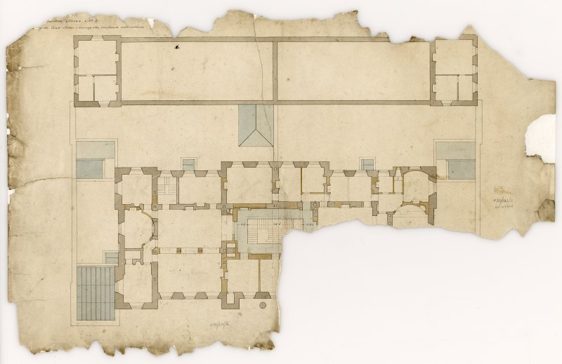 Custom House, 67 Commercial Street, Leith. First floor plan, showing proposed alterations Titled: '...Custom House...Plan of the First Floor showing the proposed alterations' Insc verso: 'This is one of four plans referred to in the Contract for certain alterations and additions on the Customs House and Excise Office at Leith entered into between Matthew Pemberton Esquire Secretary to the Board of Customs in Scotland...and David Macgibbon and Adam Oliver Turnbull both builders in Edinburgh of the dates attached to their respective...' Signed verso: 'Matthew Pemberton 18th Feb'y 1825  A.O. Turnbull 22 Feb 1825  David Macgibbon March 7th 1825' Annotated verso: '1824'
