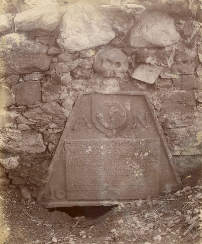 View of 17th-century gravestone to Alexander Nairn, probably in the St Fort area.