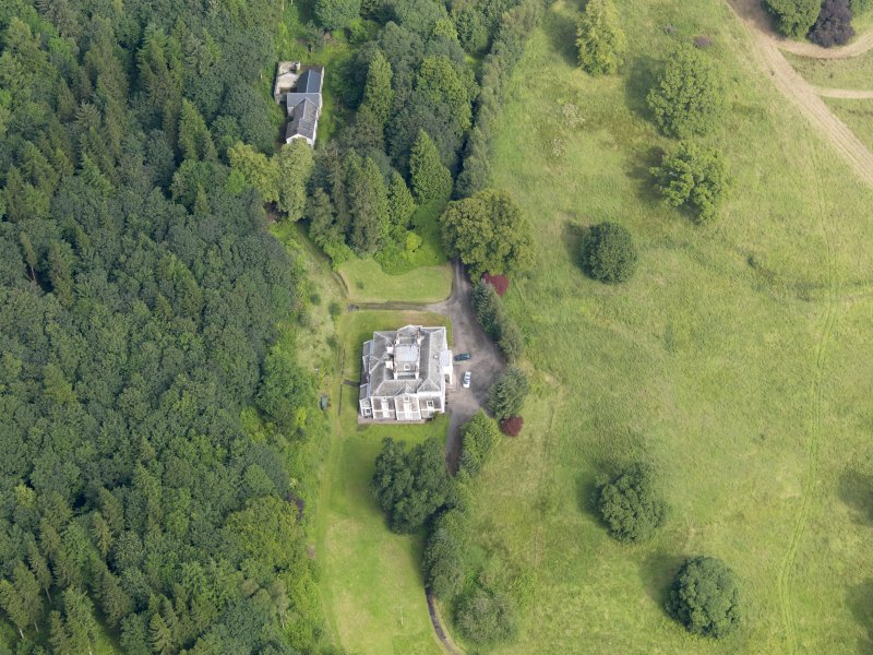 Oblique aerial view of Craigielands House and stables, taken from the SSE.