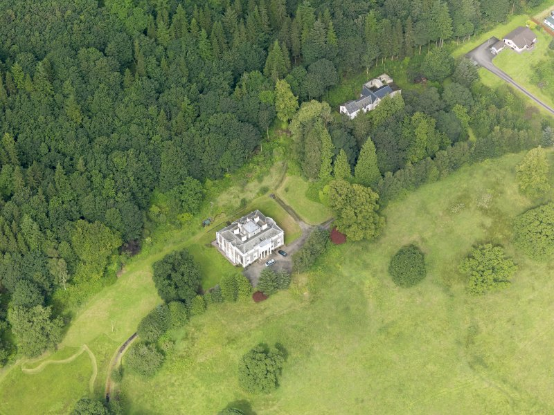 Oblique aerial view of Craigielands House and stables, taken from the ESE.