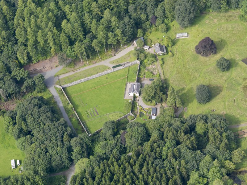 Oblique aerial view of Craigielands House walled garden, taken from the ENE.