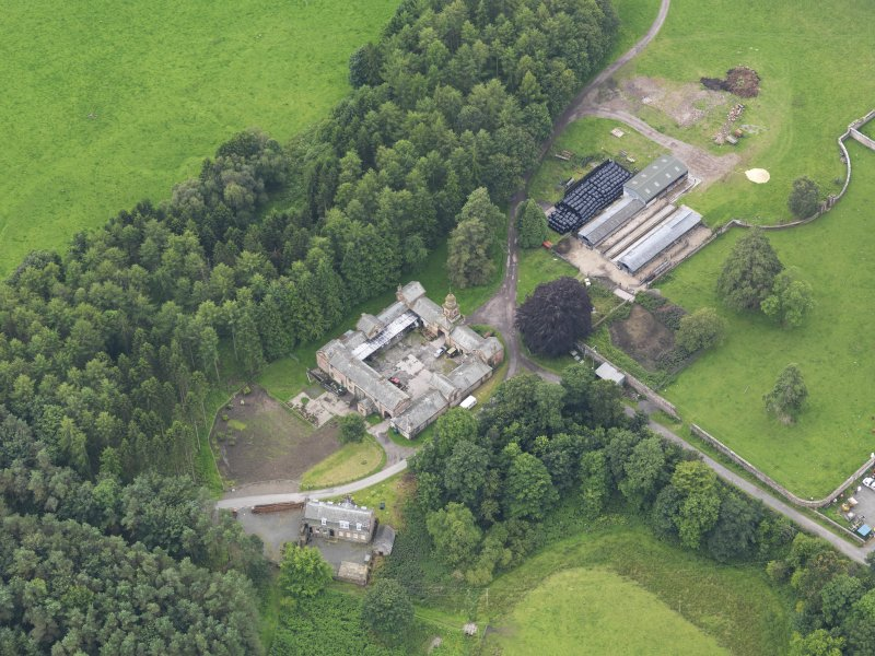 Oblique aerial view of Jardine Hall stables, taken from the NNE.