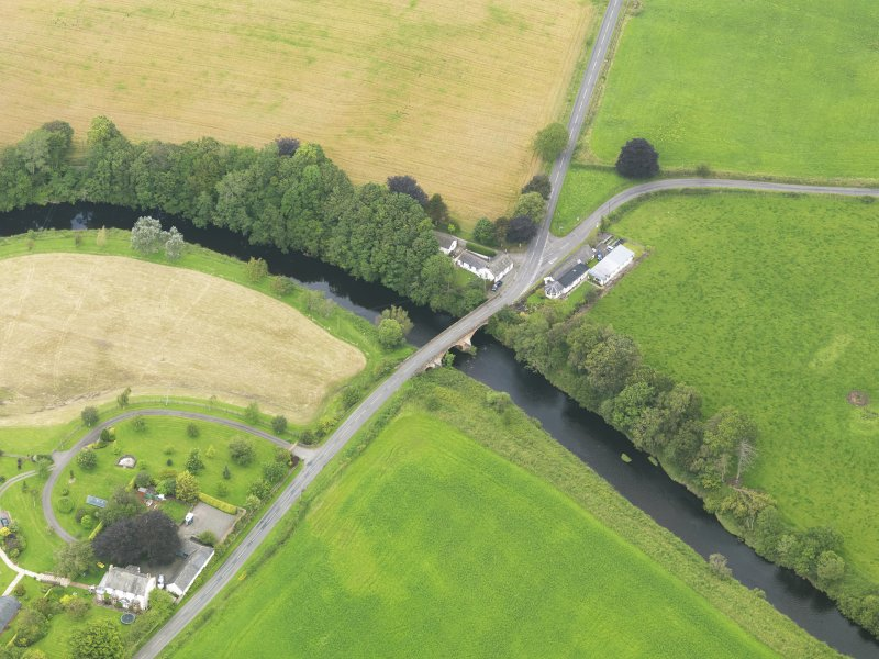 Oblique aerial view of Kinnel Bridge, taken from the SSE.