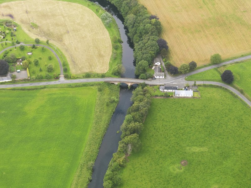 Oblique aerial view of Kinnel Bridge, taken from the ESE.