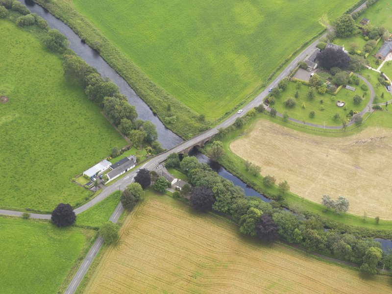 Oblique aerial view of Kinnel Bridge, taken from the NNW.