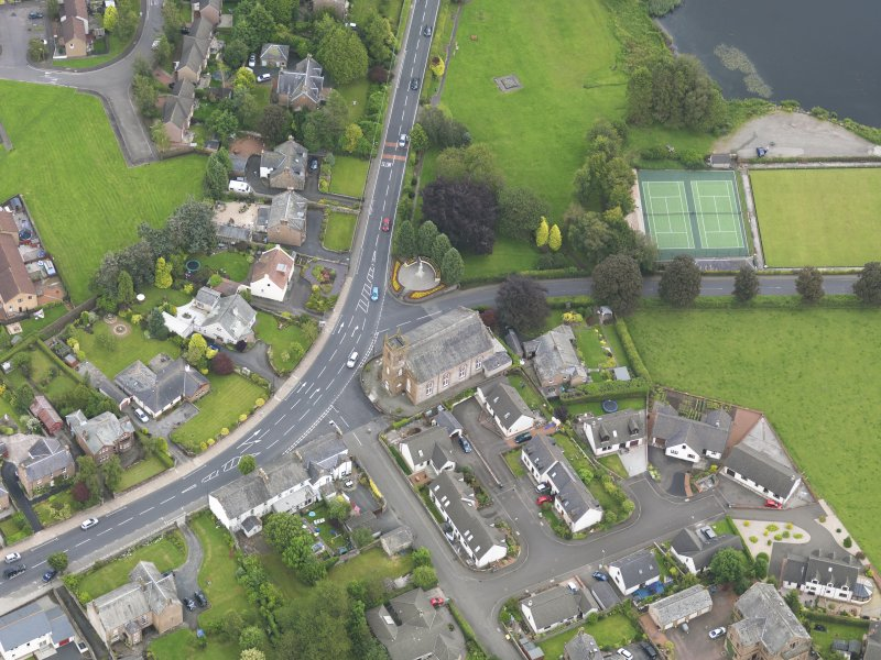 Oblique aerial view of Lochmaben Parish Church, taken from the W.