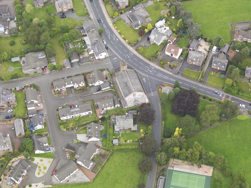 Oblique aerial view of Lochmaben Parish Church, taken from the S.