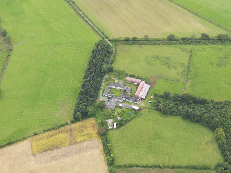 Oblique aerial view of Shortrigg Farmhouse, taken from the NE.