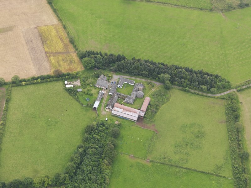 Oblique aerial view of Shortrigg Farmhouse, taken from the NNW.