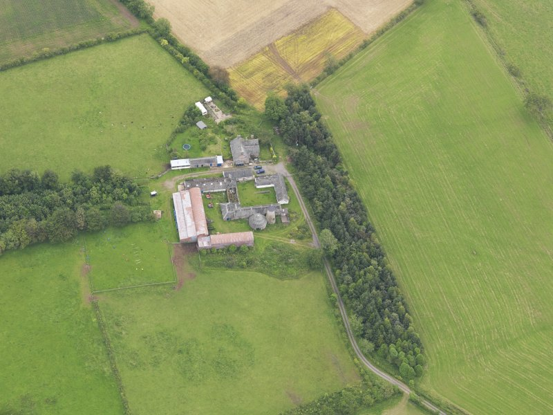 Oblique aerial view of Shortrigg Farmhouse, taken from the W.