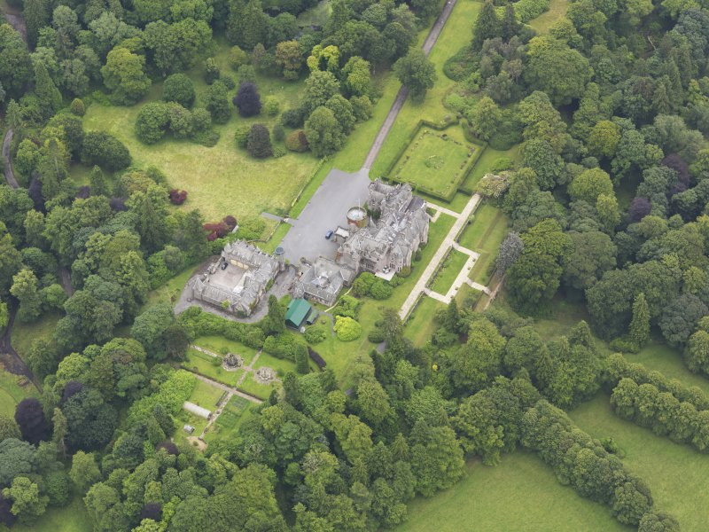 Oblique aerial view of Castlemilk country house, taken from the NW.