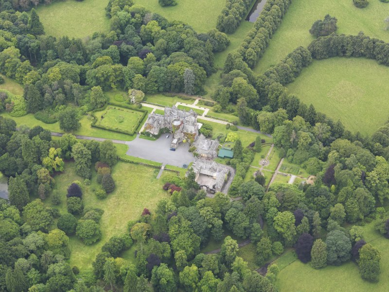 Oblique aerial view of Castlemilk country house, taken from the ENE.