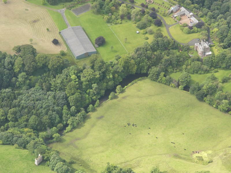 Oblique aerial view of Robgill Tower and Woodhouse Tower, taken from the ENE.