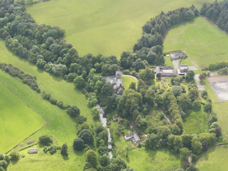 Oblique aerial view of Bonshaw Tower, taken from the NNW.