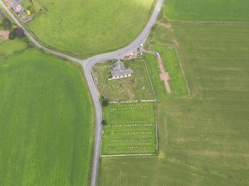 Oblique aerial view of Kirkpatrick Fleming Parish Church, taken from the S.