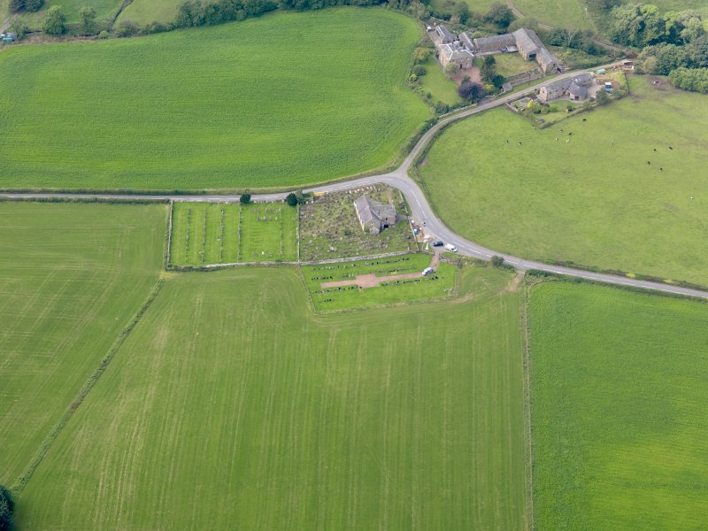 Oblique aerial view of Kirkpatrick Fleming Parish Church, taken from the E.