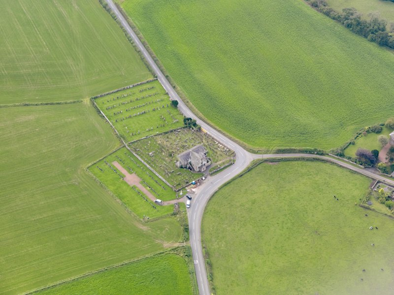 Oblique aerial view of Kirkpatrick Fleming Parish Church, taken from the NNE.