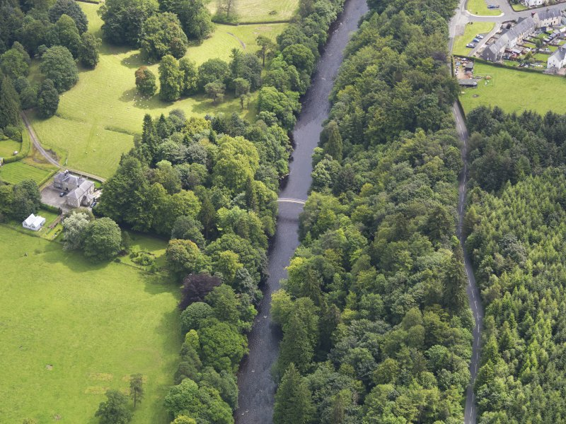 General oblique aerial view of Langholm Lodge Duchess Bridge, taken from the WNW.