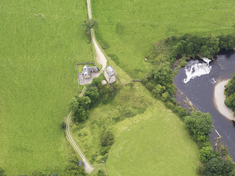 Oblique aerial view of Gilnockie Tower, taken from the NE.