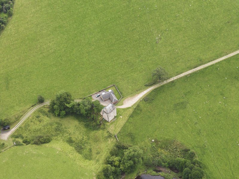 Oblique aerial view of Gilnockie Tower, taken from the NNW.