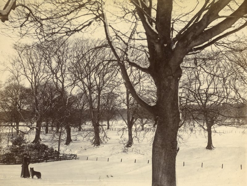 View of woman with dog in the grounds of St Fort House in winter.