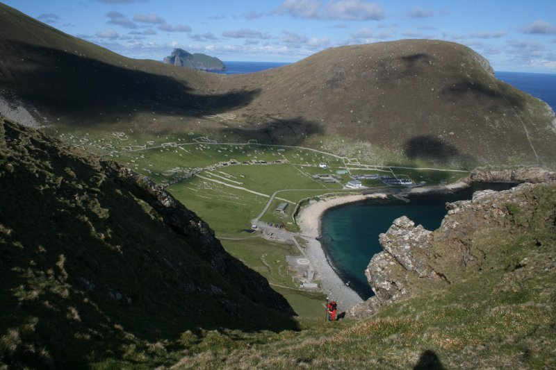 St Kilda, Hirta. View looking NE from Mullach Sgar over Village Bay.