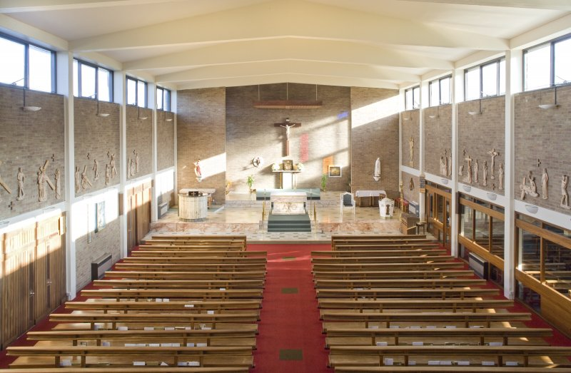 Interior. Nave. Elevated view from west.